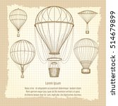hand drawn hot air balloons... | Shutterstock .eps vector #514679899