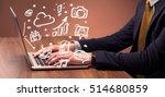 an elegant businessman sitting... | Shutterstock . vector #514680859