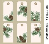 christmas gift tags with pine... | Shutterstock .eps vector #514683181