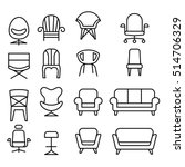 front view  chair icon set in...
