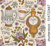 coffee. tea. vintage seamless.... | Shutterstock .eps vector #514722667