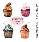 set of cupcakes. watercolor...   Shutterstock . vector #514728259