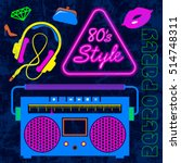 80's retro neon style elements... | Shutterstock .eps vector #514748311