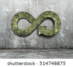 Small photo of Green circular economy concept. Arrow infinity symbol with grass on concrete wall.