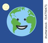 earth globe smiling. isolated... | Shutterstock .eps vector #514750471