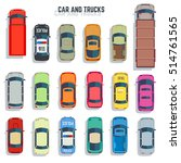 cars and trucks top view flat... | Shutterstock . vector #514761565