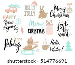 set of christmas typography and ... | Shutterstock .eps vector #514776691