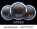 Car dashboard. Speedometer, tachometer, fuel and temperature gauge. Vector illustration - stock vector