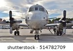 Small photo of Pensacola, Florida, USA - November 11, 2016: A U.S. Navy P-3 Orion anti-submarine aircraft, based on the Lockheed L-188 Electra airframe, on the runway at Naval Air Station Pensacola in Florida