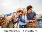 cheerful friends sightseeing in ... | Shutterstock . vector #514788271