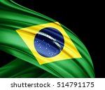 brazil  flag of silk with... | Shutterstock . vector #514791175