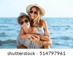 happy couple on sea background | Shutterstock . vector #514797961