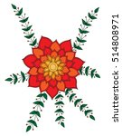 abstract orange with red flower ... | Shutterstock .eps vector #514808971
