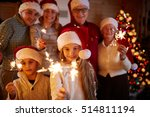 happy family with sparklers... | Shutterstock . vector #514811194