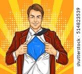 pop art super dad hero | Shutterstock .eps vector #514823539