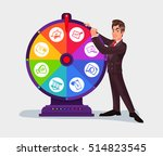 business man spinning the wheel ... | Shutterstock .eps vector #514823545