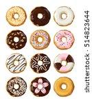 set delicious donuts in glaze | Shutterstock .eps vector #514823644