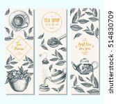 Stock vector tea shop banner set vertical banner collection for tea design linear graphic vector 514830709