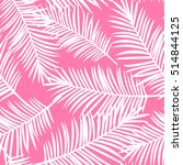 white palm leaves on a pink... | Shutterstock . vector #514844125