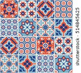 decorative red and blue tile... | Shutterstock .eps vector #514845625
