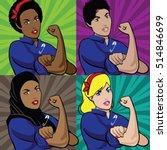 pop art poster of multicultural ... | Shutterstock .eps vector #514846699