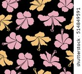 hibiscus flowers seamless... | Shutterstock .eps vector #514849591