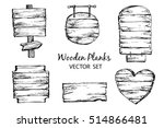 hand drawn wood planks clipart. ... | Shutterstock .eps vector #514866481