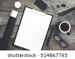 clipboard mockup and office... | Shutterstock . vector #514867765