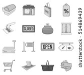 supermarket icons set. gray... | Shutterstock . vector #514869439