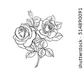 rose sketch. black outline on... | Shutterstock .eps vector #514890091