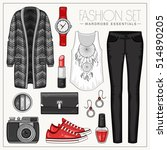 vector fashion set of woman's... | Shutterstock .eps vector #514890205
