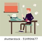 writer sits by the table and... | Shutterstock .eps vector #514904677