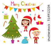 set of cute little christmas... | Shutterstock .eps vector #514912234