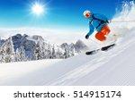 skier on piste running downhill ... | Shutterstock . vector #514915174