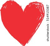 vector big red hand drawn heart   Shutterstock .eps vector #514915387