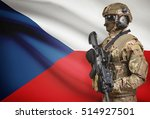 Soldier In Helmet Holding...