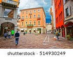 Small photo of Lugano, Switzerland - August 26, 2013: Via Nassa Street in the city center of luxurious resort Lugano, Ticino canton of Switzerland. People on the background.