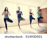 yoga practice exercise class... | Shutterstock . vector #514930501