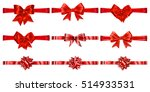 Set Of Beautiful Red Bows With...