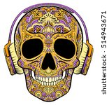Vector Colorful Orange Skull...