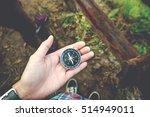 Traveler Man Holding A Compass...