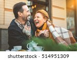 man and woman dating in cafe | Shutterstock . vector #514951309