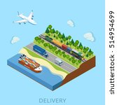 flat isometric train with cargo ... | Shutterstock .eps vector #514954699