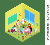 flat isometric teacher and... | Shutterstock .eps vector #514954705