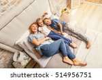 happy family of three at home | Shutterstock . vector #514956751