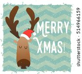 christmas deer happy face.... | Shutterstock .eps vector #514966159