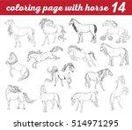 set of 14 horses colorings