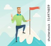 businessman achieved flag on... | Shutterstock .eps vector #514974859