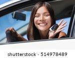 happy asian girl teen driver... | Shutterstock . vector #514978489