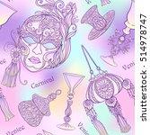 venetian carnival mask ... | Shutterstock .eps vector #514978747